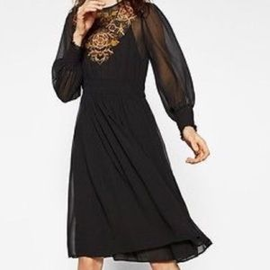 Zara sheer embroidered midi dress NWT Sz Large